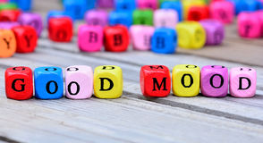 Good Mood words on table. Good Mood words on wooden table stock images