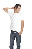 Good Morning. Young man over white background Royalty Free Stock Images