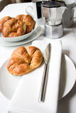 Good morning!. Croissants & coffee - the only way to start the day Stock Photos