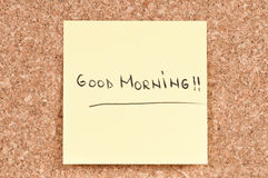 Good Morning. Handwritten on a sticky note Royalty Free Stock Image
