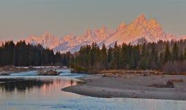 Good morning. Sunrise on the Tetons, Grand Teton National Park Stock Images