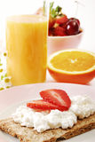 Good Morning. Healthy breakfast with fruits and juice Stock Photo