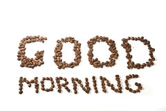 Good morning. Phrase Good morning made from coffee beans Stock Photo