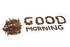 Good morning. Phrase Good morning made from coffee beans royalty free stock photo