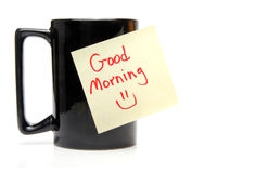 Good Morning. A coffee cup with a good morning sticky note Royalty Free Stock Photos