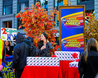 Good Morning America. American Television show Good Morning American does a live broadcast from outside in Times Square, Manhattan, NYC royalty free stock image