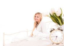 Good morning for attractive blonde girl Stock Photo