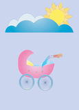 Good Morning, Baby. Rasterized vector illustration intended to represent motherhood, birth of a baby, childhood stock illustration