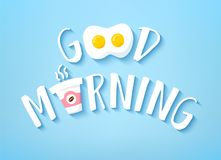 Good Morning banner with cute text, cup of coffee and fried egg on blue background. Vector.  Stock Images