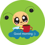 Good morning. Bee with a cup for a pleasant awakening stock illustration