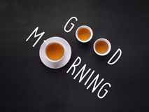 Good Morning on blackboard background Royalty Free Stock Images