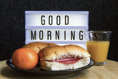 Good morning breakfast with fresh sandwiches and fruit. Healthy breakfast with sandwiches and fruits Royalty Free Stock Image
