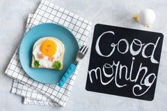 Good Morning Breakfast For Kids. Egg Sandwich Chicken. Creative Food Art Sandwich. Cute Funny Chicken Toast For Children. Good Morning Chalkboard. Top view Royalty Free Stock Photo