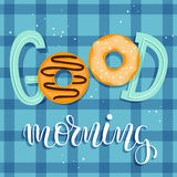 Good Morning! Breakfast poster with sweet doughnuts and sprinkles. Vector illustration with hand lettering Stock Image