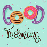Good Morning! Breakfast poster with sweet doughnuts and sprinkles. Vector illustration with hand lettering. Good Morning! Breakfast poster with hand lettering Royalty Free Stock Photography
