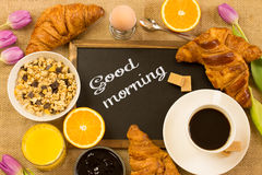 Good morning. Breakfast table with the message '' good morning written on a chalkboard Stock Photos