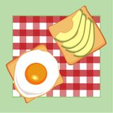 Good morning.breakfast vector collection: toasts bread, avocado, egg on the checkered tablecloth, cute food icons in royalty free stock photos