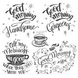Good morning brush calligraphy set Royalty Free Stock Photography