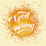Good morning brush calligraphy royalty free illustration
