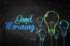 Good Morning Bulbs Background. Digital Drawing Stock Photo