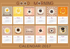Good morning calendar. 2017 Calendar. Template of year calendar. Good morning theme with cup of coffee, tea, fried eggs and citrus juice. Design idea for vector illustration