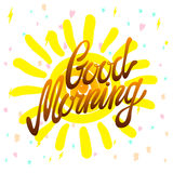 Good morning calligraphic inscription and hand-drawn yellow sun on a white background with texture, illustration is suitable for a Royalty Free Stock Images