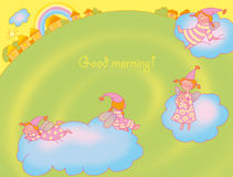 Good-morning card. With fairies Royalty Free Stock Photo