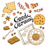 Good morning card. Breakfast menu design. Vector set with cup, chocolate, cake, cookies and sweets Royalty Free Stock Photography