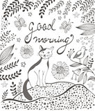Good morning card with cute hand drawn cat sitting Stock Photos