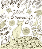 Good morning card with cute hand drawn cat sitting on a lawn Stock Image