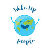 Good Morning Card with fun earth. Wake up people. Stock Image