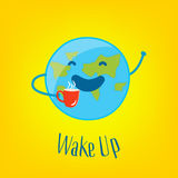 Good Morning Card with funny earth and cup of tea on yellow background. Wake up. Vector Royalty Free Stock Photos