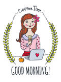 Good Morning card with girl and coffee Stock Photography