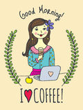 Good Morning card with girl and coffee cup Stock Photos