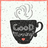 Good morning card with hand lettering on the cup. Stock Image