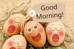 Good morning card and smile face eggs sleep. Good morning card and smile face eggs sleep sack background Royalty Free Stock Image
