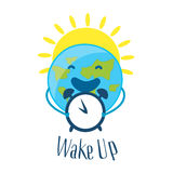 Good Morning Card with sun and funny earth with alarm clock. Wake up. Vector Stock Images