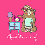 Good morning card with teddy bear Royalty Free Stock Images