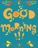 Good morning cartoon card Stock Image