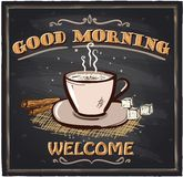 Good morning chalkboard cafe sign. Good morning chalkboard cafe sign with coffee mug Stock Photography