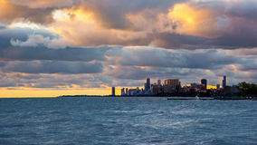 Good Morning Chicago. Sunrise over lake Michigan as seen from the Shore North of Chicago royalty free stock image