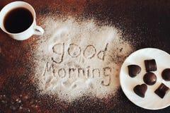 Good morning chocolate. Phone effect smell white Tea coffee Stock Photos