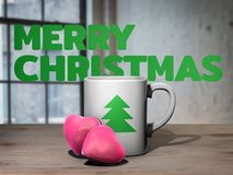 Good morning Christmas concept - cup of coffee and heart shaped cookies on wooden table opposite window. 3D illustration Royalty Free Stock Photography