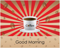 Good Morning coffee. Special red Good Morning coffee background Stock Images