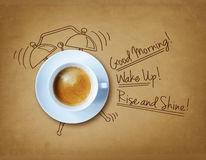 Good morning coffee. And alarm clock concept royalty free stock photography