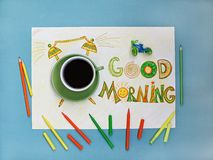Good morning coffee and alarm clock concept.  Cup of coffee with hand drawn alarm clock Royalty Free Stock Image