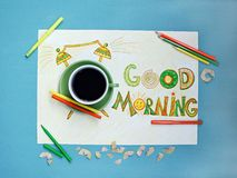 Good morning coffee and alarm clock concept.  Cup of coffee with hand drawn alarm clock Stock Photo
