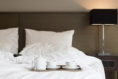 Coffee on bed Royalty Free Stock Photos