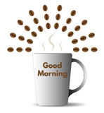 Good morning with coffee. Illustration of coffee cup and sun made of coffee beans in gradint style royalty free illustration