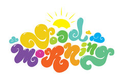 Good morning colorful vector inscription. Hand Stock Photography